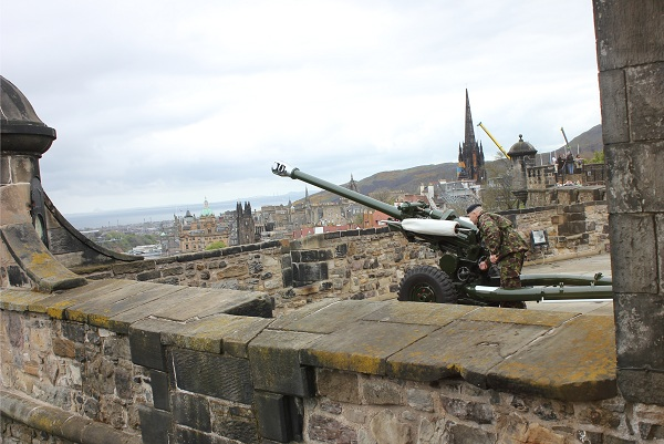 Loading the One O'Clock gun at Edinburgh Castle in Scotland