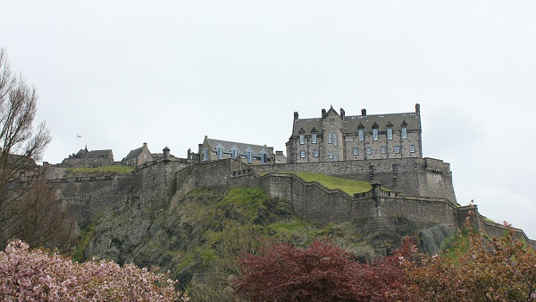 A long view from below of the Edinburgh Castle in Edinburgh Scotland