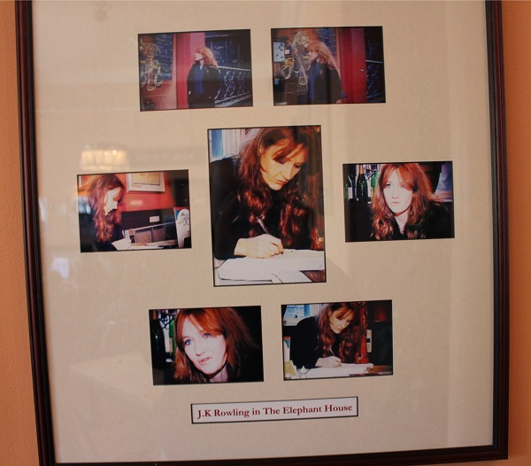 Photos of J.K. Rowling in The Elephant House at Edinburgh, Scotland