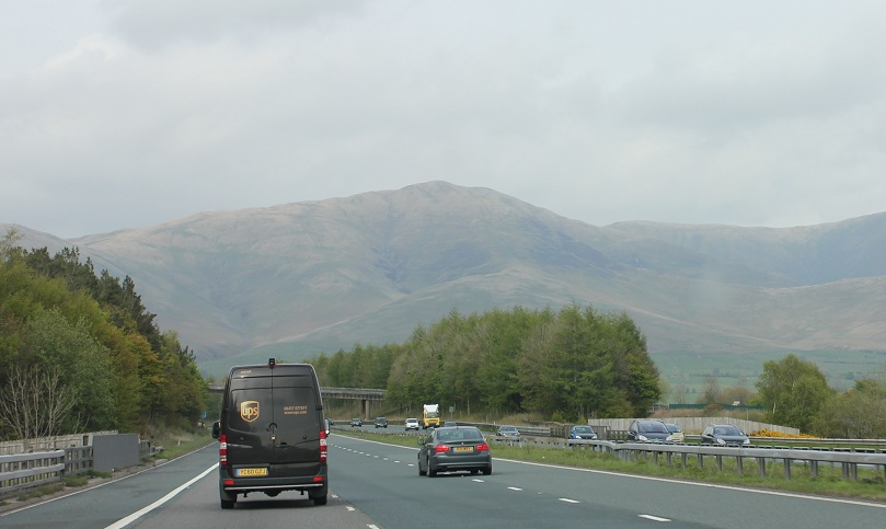 driving in Scotland on the A74