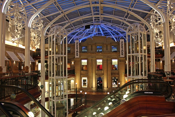 Upscale shopping mall at Princess Square in Glasgow, Scotland