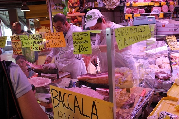meat and cheese at the Mercato Trionfale