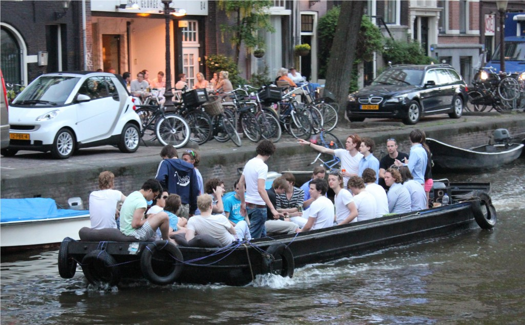 boating on the canals in Amsterdam