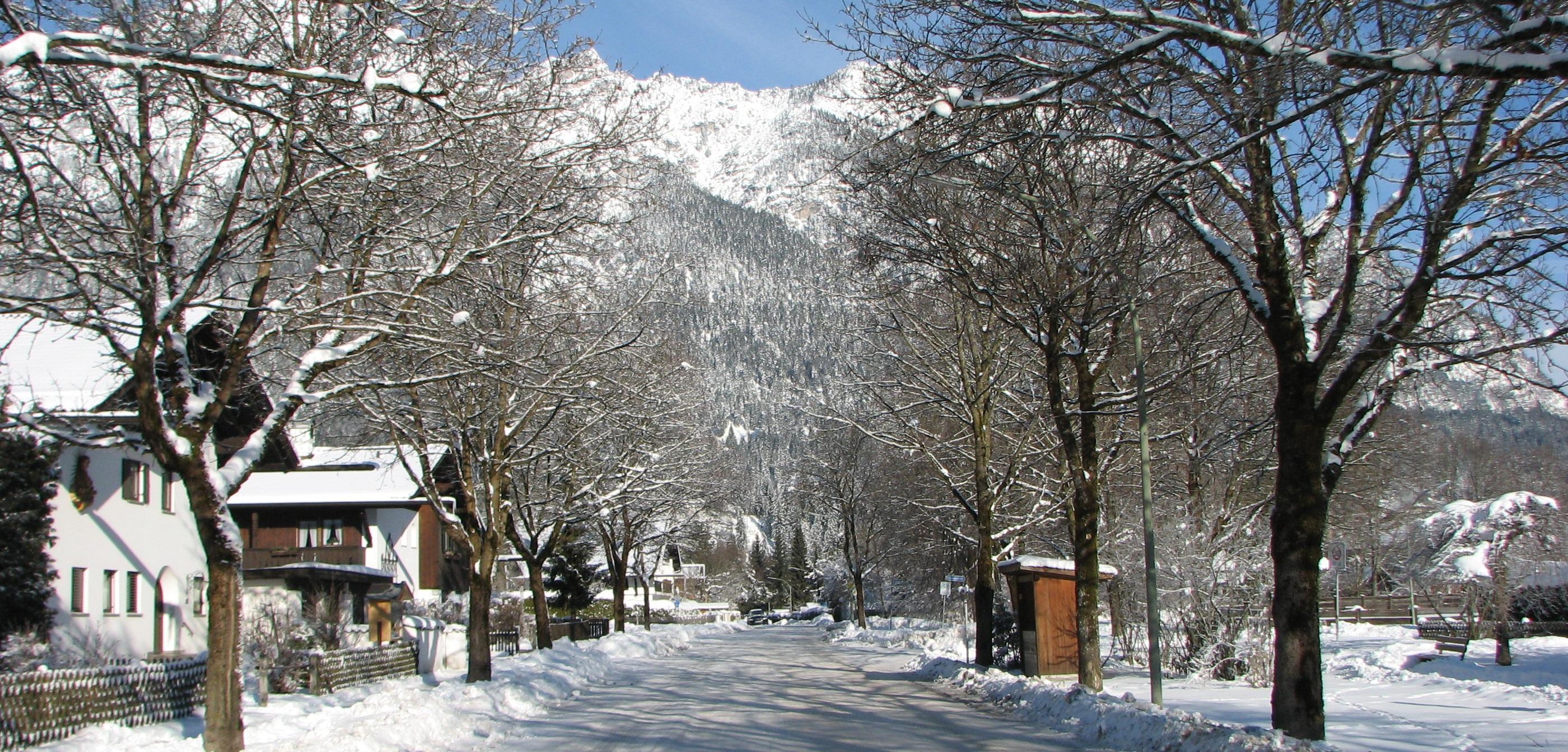 walking in snow in Garmisch